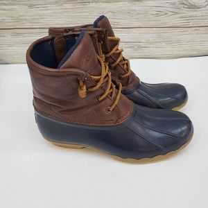 Sperry Brown and Navy Duck Boots Size 5